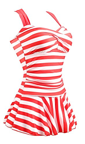 MiYang Women's One Piece Striped Slim Padded Swim Dress Bathing Swimwear Red and White X-Small US 0-2