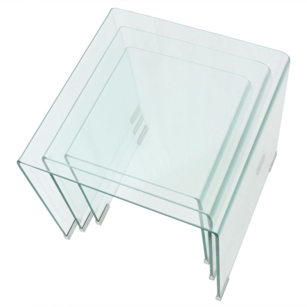 vidaXL 3 Pezzi Set tavolino da caff/è in Vetro temprato TS-ideen