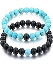Turquoise & ONYX stone Beads Couples Bracelets Unisex Friends Packaged in a Small Gift Box