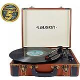 Lauson Plattenspieler Bluetooth   Schallplattenspieler mit Lautsprecher   USB   Vinyl Player   Koffer Retro   CL605 (Braun)