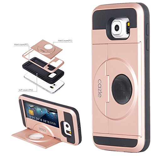 Galaxy S6, Dual-layer Heavy Duty Matte Rugged Protective Cover with Slider ID Credit Card Slot Cash Holder Hands Free Foldable Kickstand for Samsung Galaxy S6 by Cazle (Rose Gold)