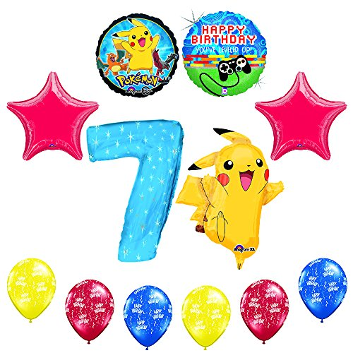 NEW-12-pc-Pokemon-Go-Youve-Leveled-Up-7th-Happy-Birthday-Balloon-Decoration-supplies