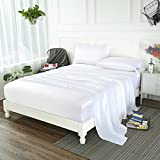 zimasilk 4 pcs 100 mulberry silk bed sheet set all side 19 momme silk queen white