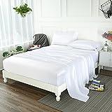 ZIMASILK 4 Pcs 100% Mulberry Silk Bed Sheet Set ,All Side 19 Momme Silk (Queen, White)