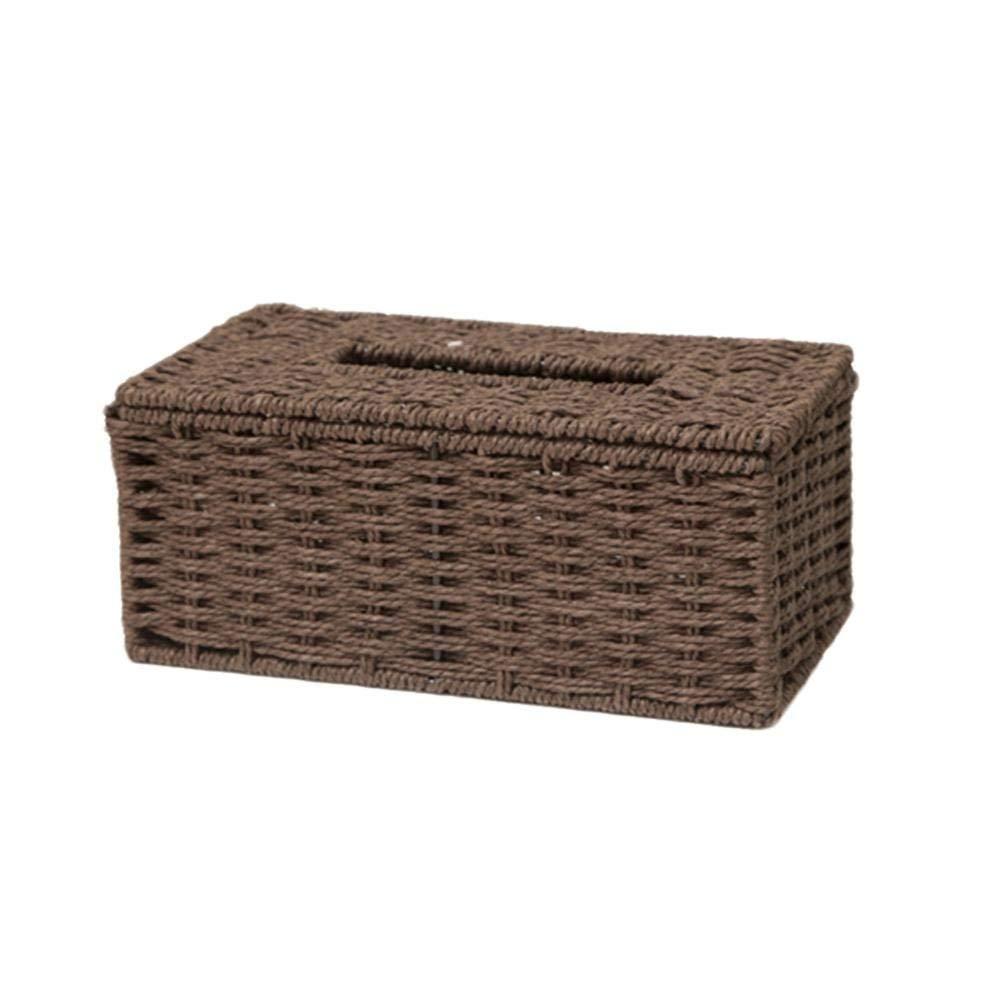 Goodquan Oficina hogar Funda para Caja de pa/ñuelos de rat/án Tejida a Mano ba/ño caf/é Resistente Rectangular Soporte para Caja de pa/ñuelos para Hotel