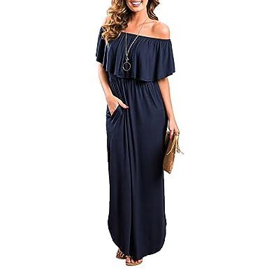 online store 368c7 583ab Donna Vestiti Senza Spalline Elegante Spalla di Parola Moda Vestito Taglie  Forti Incinte Cerimonia Abito Spacchi Laterali con Volant Boho Lunghi ...