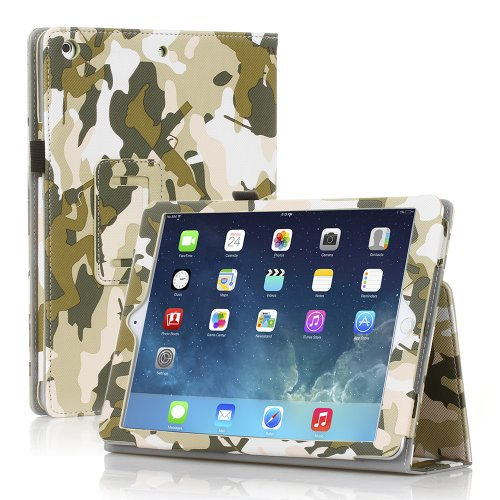 TNP iPad Air 2 Case (Camouflage Army Green) – Leather Case Stand with Smart Cover Auto Sleep & Wake Feature and Stylus Holder for Apple iPad Air 2 (iPad 6) 2014 Model & iPad Air (iPad 5) 2013 Model