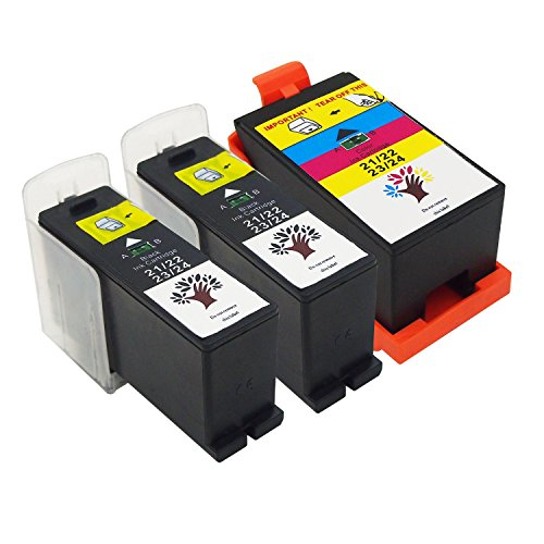 GREENSKY 3 Pack(2 Black & 1 Color) High Yield Compatible Ink Cartridge For Dell Series 21/ 22/ 23/ 24 P513w P713w V313 V313w V715w V515w