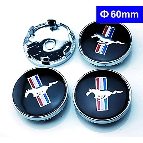 Infinit-Deal 4PCS 60mm Car Wheel Center Caps Hub Caps RIM Cover RUNNING HORSE Emblems For FORD MUSTANG COBRA GT Replacement Styling Auto Accessories (Silver)