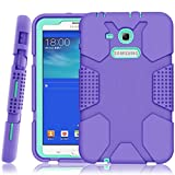 samsung 3 protective screen - Samsung Galaxy Tab E Lite 7.0 Case, Galaxy Tab 3 Lite 7.0 Case, Hocase Rugged Heavy Duty Kids Proof Protective Case for SM-T110 / SM-T111 / SM-T113 / SM-T116 - Purple / Mint Green