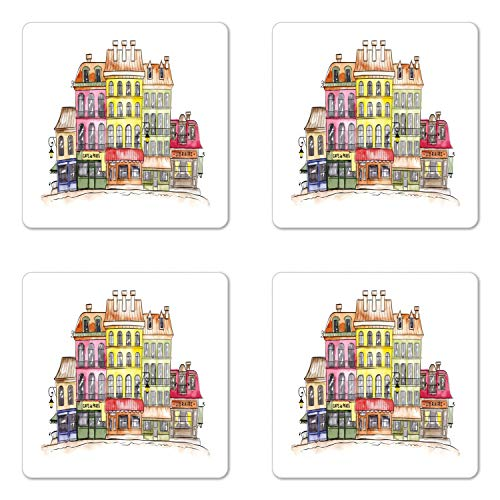 (Lunarable City Coaster Set of Four, Colorful Watercolor Painting Buildings Funny Parisian Town Sketch Print, Square Hardboard Gloss Coasters for Drinks, Multicolor)