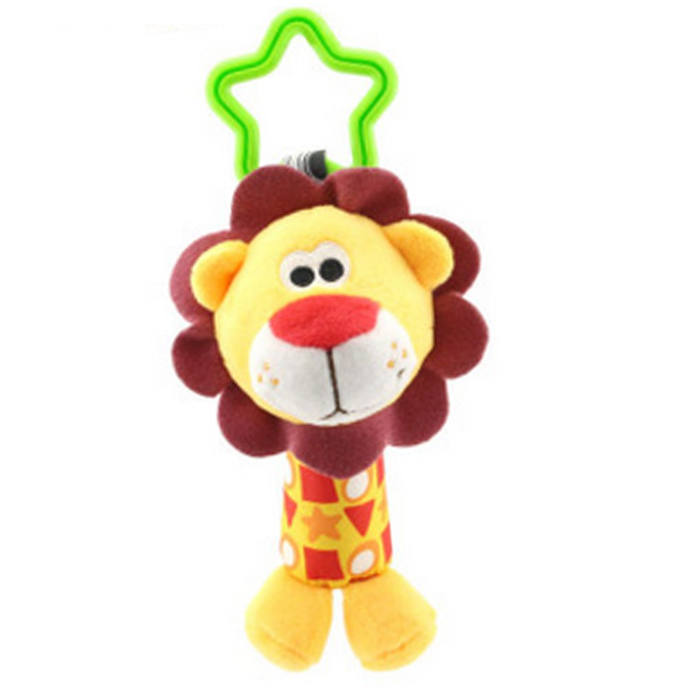 Infant Baby Rattle Toys, Kids Stroller Hanging Bell, Newborn Baby Car Crib Stroller Handbells Toys Washable Squeaker Car Toys Lion Rocita