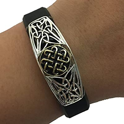 Fitbit Alta, Fitbit Flex, Jawbone Up Jewelry to Accessorize Your Fitness Tracker - Classic Etched Antique Gold Silver Ornate GEORGIA Charm Bracelet Accessory