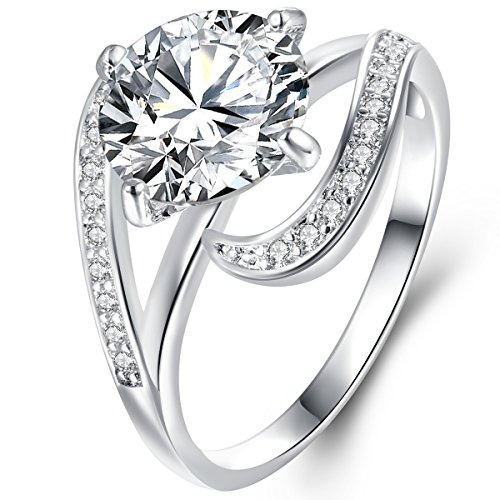 Women's Rhodium Plated 2.7 Carat Brilliant Round Cut Cubic Zirconia CZ Solitaire Ring Size 9