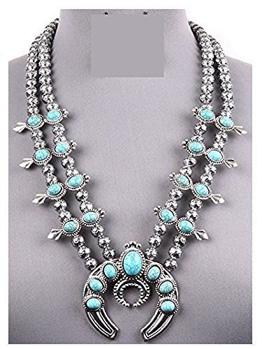 Silver Navajo Style Squash Blossom Necklace Set - Navajo Turquoise Necklace