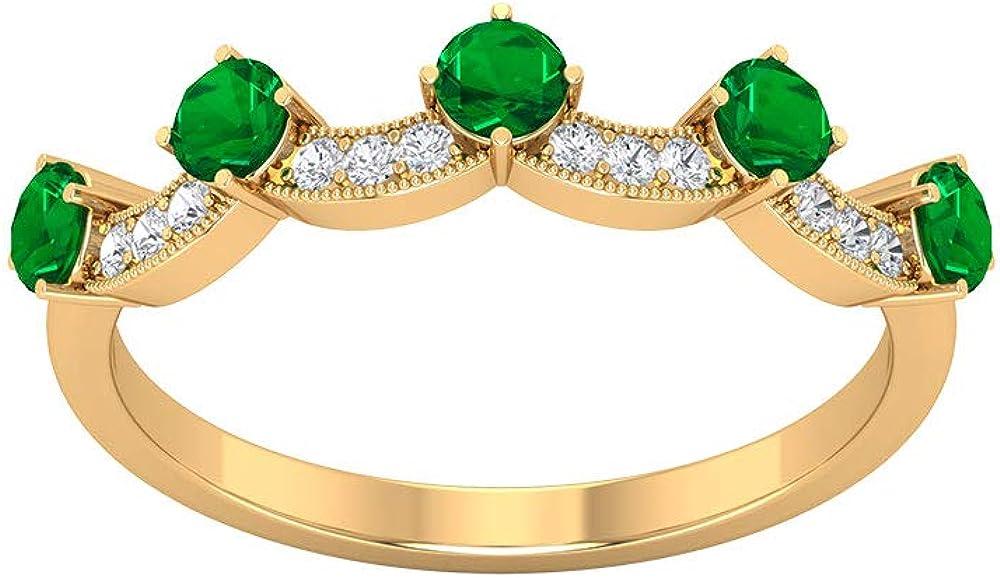 Anillo de aniversario con diamantes de esmeralda certificados SGL de 0,69 quilates, único de mayo de piedra natal de oro, corona de boda, tiara de novia, regalo