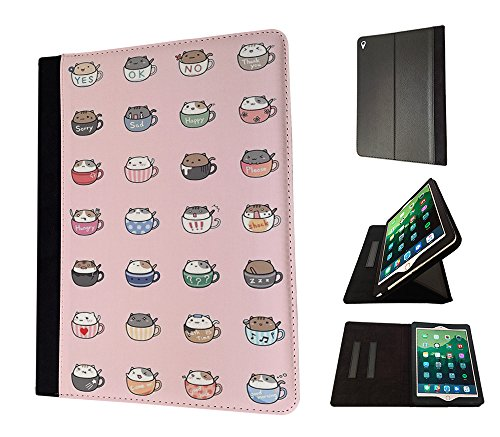 Price comparison product image 003816 - Kawaii Cute Cats In Mugs Colourful Animals Design Apple iPad 9.7 inch 2017 Flip Case Purse pouch Stand Cover