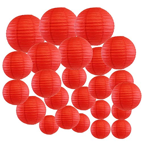 Red Paper Lanterns - Just Artifacts Decorative Round Chinese Paper Lanterns 24pcs Assorted Sizes (Color: Red)
