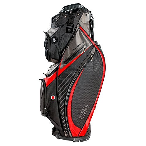 IZZO Golf Izzo Gemini Cart Golf Bag Red - Black, Red, Green or Blue - Golf cart Bag, Golf Club cart Bag, Magnetic Ball Pockets and has Large Beverage Cooler, -