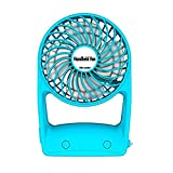 Desktop USB Fan Portable Ultra-Quiet Mini Handheld Fan for Office Outdoor Family Travel 360 Rotary with USB Battery (Color : Blue)