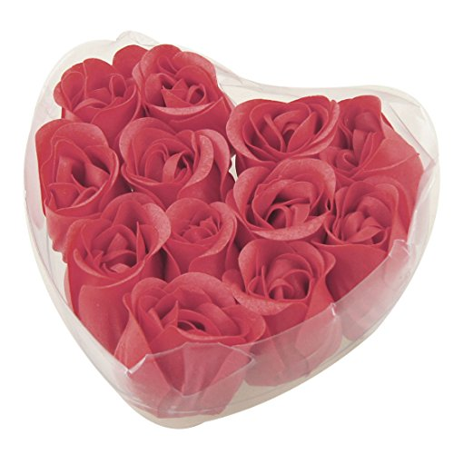 Heart Favors Wedding Soap - SODIAL(R)12 Pcs Red Fragrant Rose Bud Petal Soap Wedding Favor + Heart Shape Box