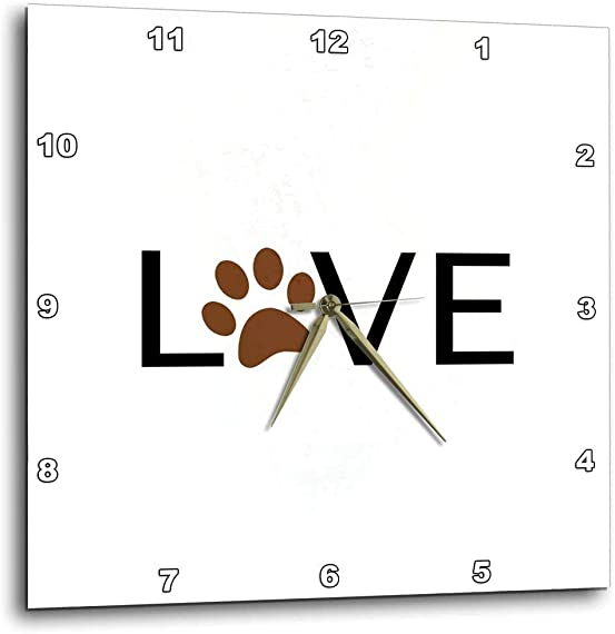 3dRose dpp_180483_1 Love with Brown Paw Print for O. Animal Lover Pet Owner Pawprint Gift-Wall Clock, 10 by 10-Inch