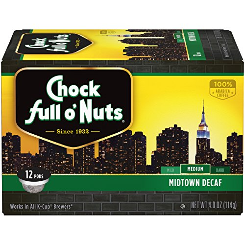 Chock Chuck-full o'Nuts Coffee, Midtown Decaf Medium Roast, Single Serve Coffee Cups, 12 Count