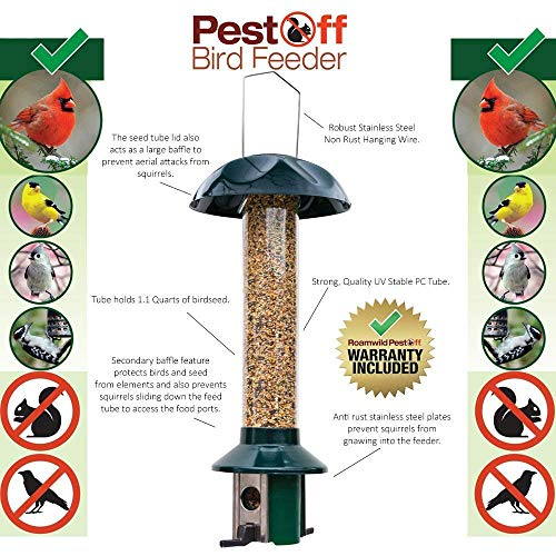 Roamwild PestOff Squirrel Proof Bird Feeder Mixed Seed Sunflower Heart Version by Roamwild (Image #6)