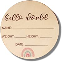 Baby Announcement Sign - Premium Wooden Rainbow Design Discs - Celebrate The Arrival of Your Baby - Record Birth Details…