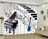 Dbtxwd Children's curtains 3D Piano Musical note drape Blackout Window Drapes For Bedroom living room Darkening Panel Curtain , wide 2.64x high 1.6