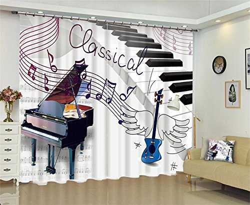 Dbtxwd Children's curtains 3D Piano Musical note drape Blackout Window Drapes For Bedroom living room Darkening Panel Curtain , wide 2.64x high 1.6 by Dbtxwd curtains