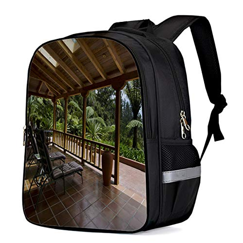 Laptop Backpack,Casual Daypacks Slim Durable Laptops Backpack Water Resistant Computer Bag for College Student Women Men,Tropical Beach Side Lounge Garden Terrace - Terrace Garden Tropical
