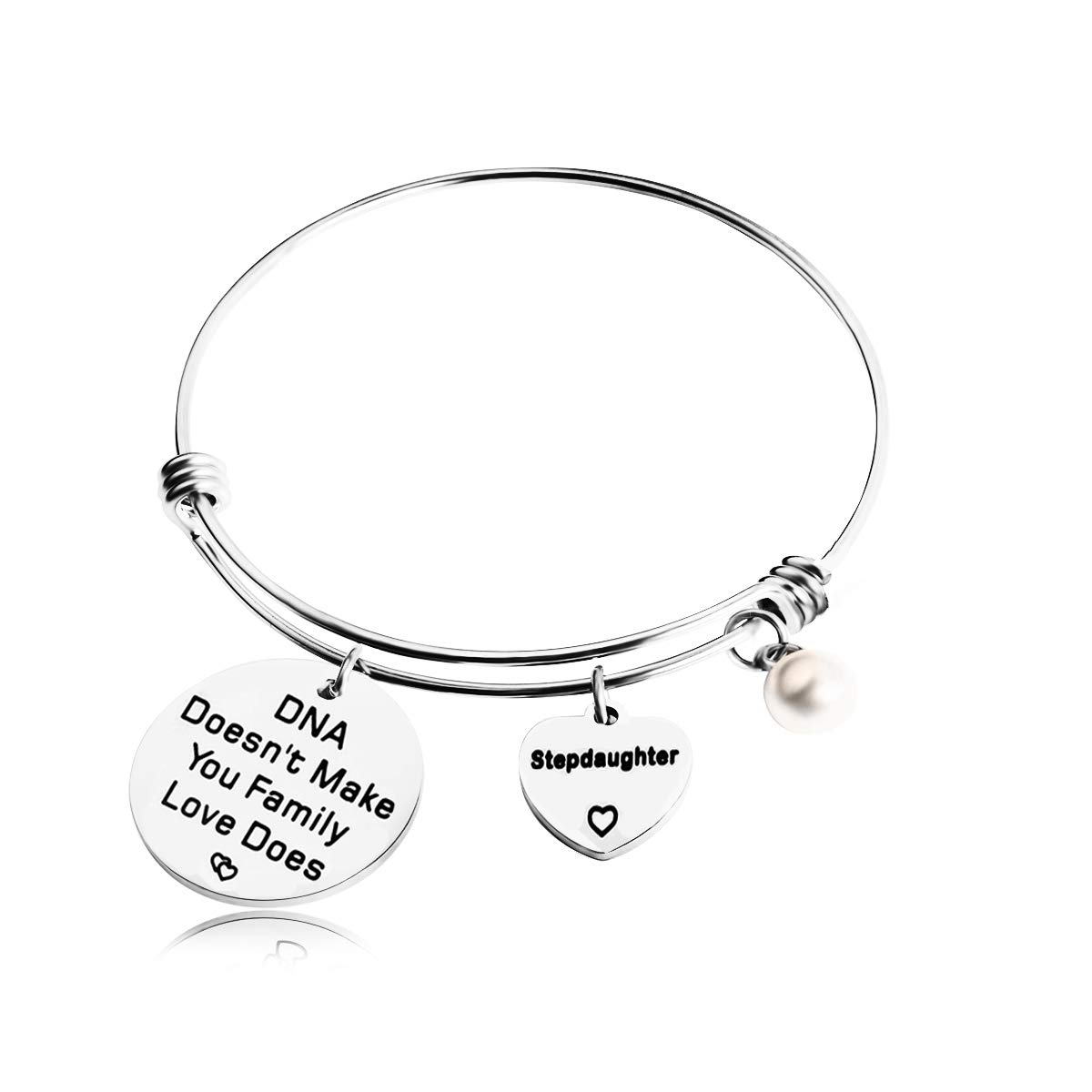 REEBOOOR Stepdaughter Gifts Stepdaughter Bracelet DNA Doesn't Make You Family Love Does Gift for Stepchild (Silver -Stepdaughter Bracelet)