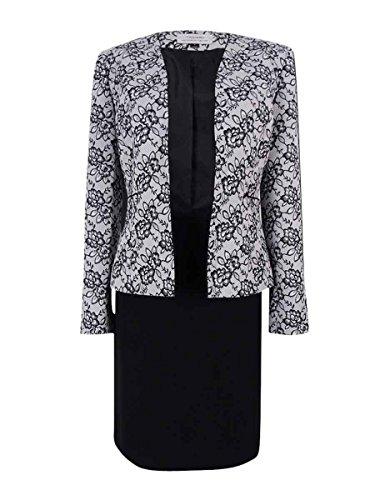 Tahari ASL Women's Printed Lace Skirt Suit (10, White/Black) -