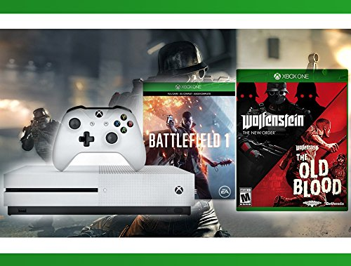 51LB0whOXaL - Xbox-One-S-500-GB-Battlefield-1-Console-Wolfenstein-The-Two-Pack-WWE-2K16-Bundle-3-Items