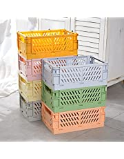 """Gladiour 4PCS Plastic Collapsible Crate Folding Storage Basket for Shelves,Baskets for Shelf Stackable Container Organizing Bins for Home Office Bathroom Bedroom Grocery 10""""x5.9""""x3.8"""""""