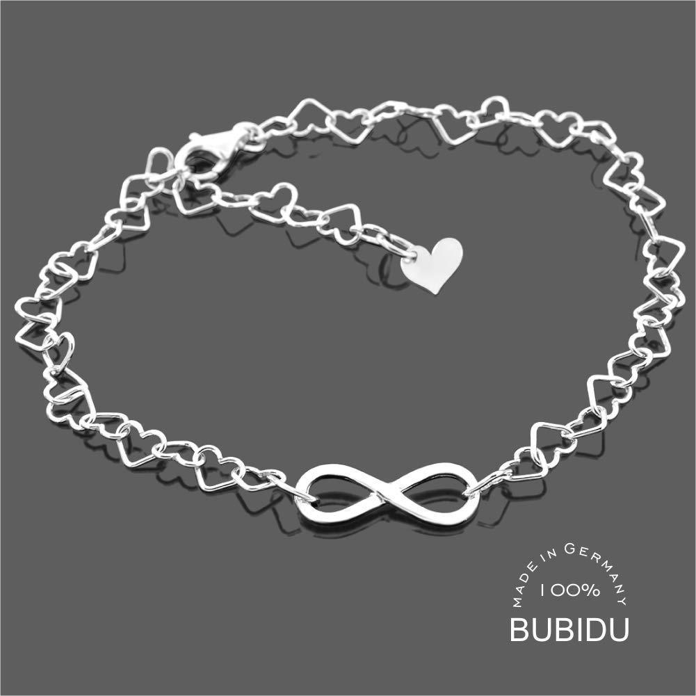 Armband Damen 925 Silber Infinity ❤️ Unendlich Herzarmband Damenschmuck Valentinstag Schmuck Liebe ❤️ Unendlich Zeichen modern Silberschmuck Damenarmband filigran HANDMADE IN GERMANY