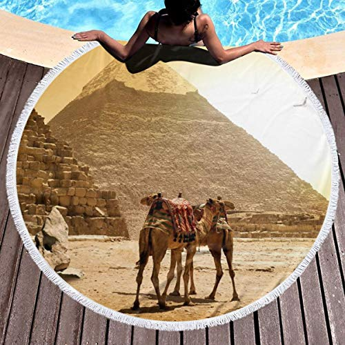 (Round Beach Towel, Pyramid Camel Beach Blanket, Thick Roundie Tapestry Wall Hanging, Camping Picnic Carpet Yoga Mat 59