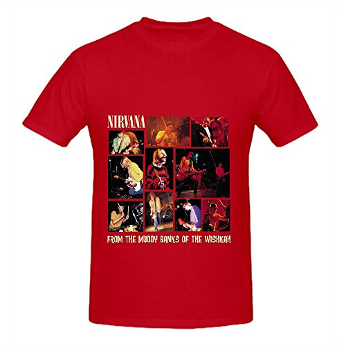 Nirvana From The Muddy Banks Of Wishkah Men Crew Neck Music T Shirts Red