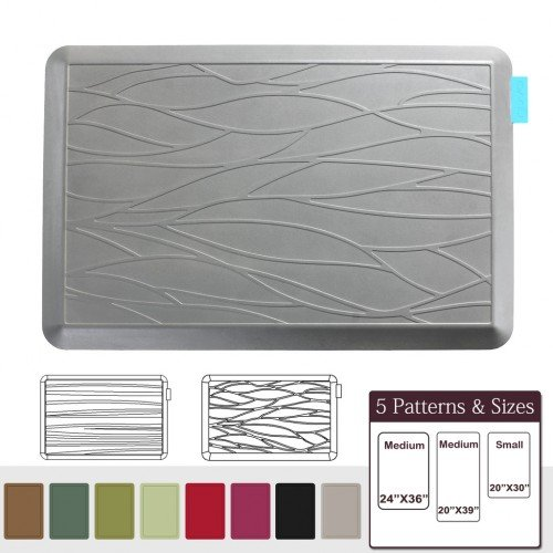 NUVA Anti Fatigue Standing Floor Mat 30 x 20 in, 100% PU Comfort Ergonomic Material Unlike PVC leather mats! 4 Non-slip PU Elastomer Strips on Bottom, 5 Safety Test by SGS (Putty Gray, Wave Pattern)