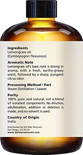 Del Mar Naturals Lemongrass Essential Oil, Pure and Natural, Therapeutic Grade Lemongrass Oil, 2 fl oz by Del Mar Naturals (Image #2)'
