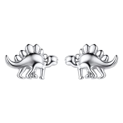 ba791c14b Image Unavailable. Image not available for. Color: Creative Silver Stud  Earrings 925 Sterling Silver Cute Dinosaur ...
