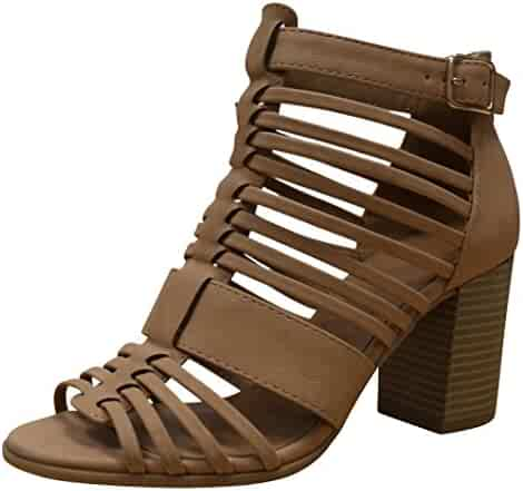 f0a8065d6fcfb Cambridge Select Women sCaged Cutout Gladiator Strappy Chunky Stacked Block  Heel Open Toe Ankle Bootie