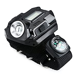 Your Supermart New 1000Lm Tactical CREE LED Display Rechargeable Wrist Watch Flashlight Torch