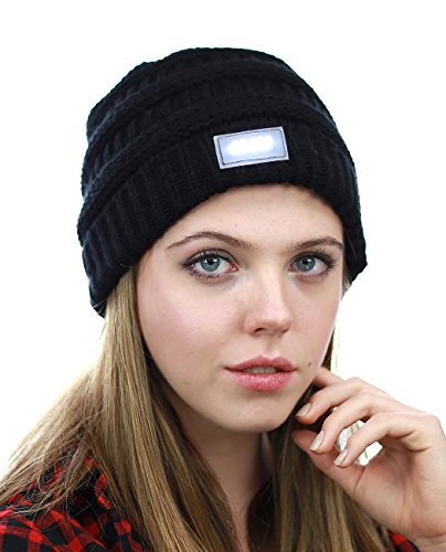NYFASHION101 LED Hands Free Light Winter Cable Knit Cuff Beanie Hat, Black