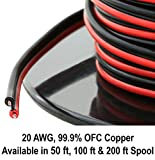 20 Gauge (AWG American Wire Ga) 99.9% OFC Stranded Oxygen Free Copper 100' Red & 100' Black Bonded Zip Cord Power Speaker Cable for Car Audio Home Stereo LED Light (Also Available in 50 & 200ft Roll)
