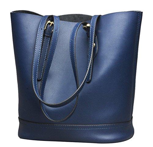 Women's Handbag Genuine Leather Tote Shoulder Bucket Bags Elegant Style Large Capacity (Blue)