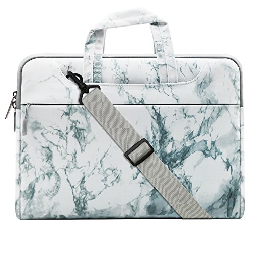 Mosiso Laptop Shoulder Bag for 15-15.6 Inch MacBook Pro, Notebook Computer, Ultraportable Protective Canvas Marble Pattern Carrying Handbag Briefcase Sleeve Case Cover, White
