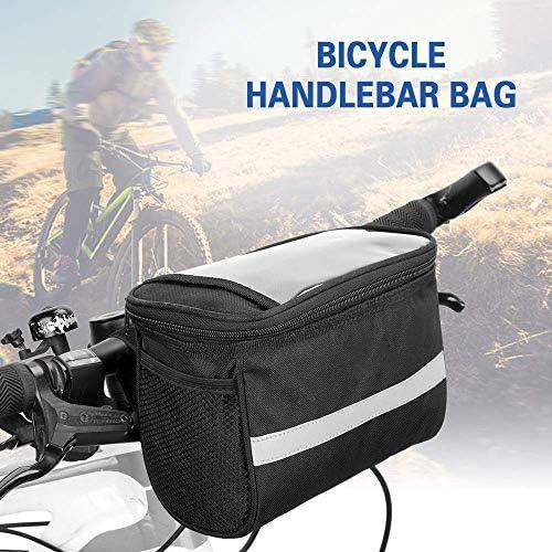自転車収納袋、反射ストリップとのサイクリング自転車自転車のフロント保冷バッグハンドルバーバッグバスケットクーラーバッグ (Color : Black)