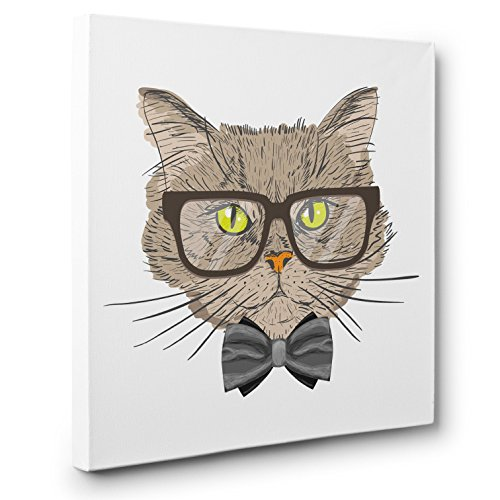 Brown Glasses Hipster Cat CANVAS Wall Art Home Décor by Paper Blast
